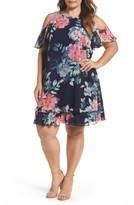 Eliza J Plus Size Women's Print Chiffon Tiered Cold Shoulder Dress