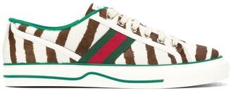 Gucci Zebra Print Lace Up Plimsoles