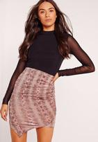 Missguided Slinky Snake Print Asymmetric Mini Skirt Pink