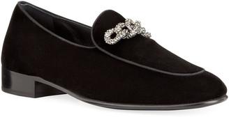 Giuseppe Zanotti Men's Swarovski Chain Velvet Loafers