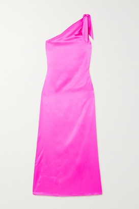 BERNADETTE Lucy Tie-detailed One-shoulder Stretch-silk Satin Maxi Dress - Pink