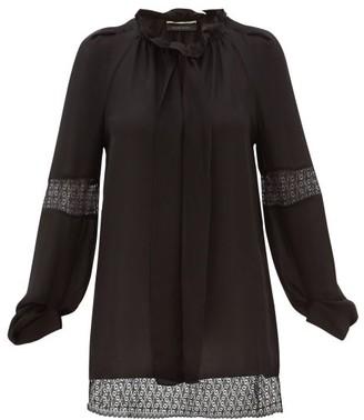 Roland Mouret Lolo Lace-inset Silk-georgette Blouse - Black