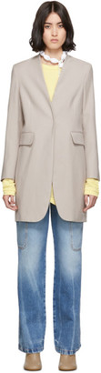 MM6 MAISON MARGIELA Beige Wool Lapel-Less Overcoat