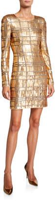 Misha Collection Ava Geometric Sequin Long-Sleeve Sheath Dress