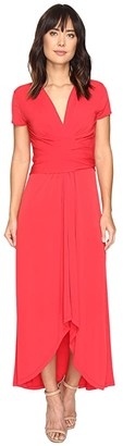 MICHAEL Michael Kors Short Sleeve Maxi Wrap Dress (Black) Women's Dress