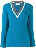 Marni ribbed v-neck jumper - women - Virgin Wool/Polyamide - 40