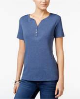 Karen Scott Petite Cotton Henley T-Shirt, Only at Macy's