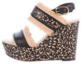 Oscar de la Renta Laser Cut Wedge Sandals