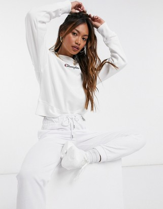 Champion boxy high neck sweatshirt in white