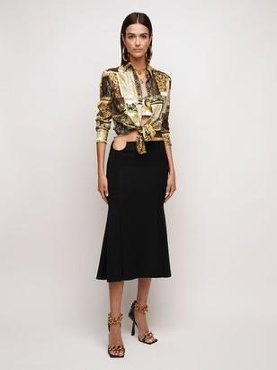 Versace Cady Midi Skirt W/ Cut Out