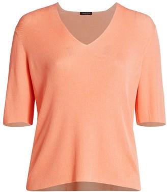 Lafayette 148 New York, Plus Size Rib-Knit V-Neck Sweater