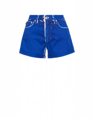 Love Moschino Stretch Gabardine Patent Print Shorts. Woman Blue Size 40 It - (6 Us)