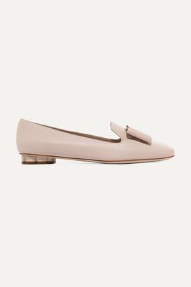 Salvatore Ferragamo Sarno Bow-embellished Leather Loafers - White