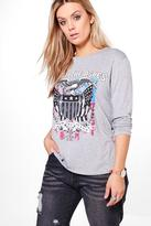 Boohoo Plus Fiona Band Printed Long Sleeve Tee