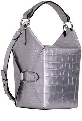 Jeff Wan Lunch Box Bucket Bag In Silver Croc Embossed