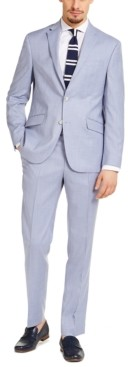 Kenneth Cole Reaction Men's Slim-Fit Techni-Cole Stretch Light Blue Windowpane Suit, Created for Macy's