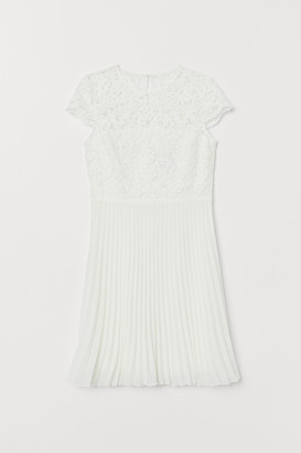H&M Pleated Lace Dress - White