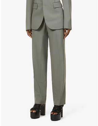 Dion Lee Straight-leg high-rise wool trousers