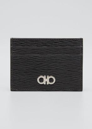 Salvatore Ferragamo Men's Colorblock Leather Card Holder w/ Money Clip