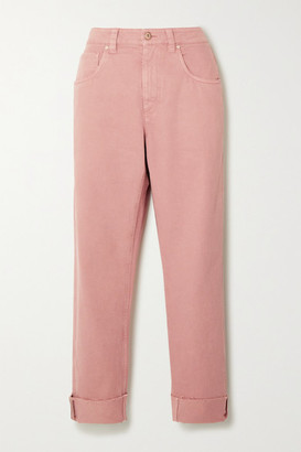 Brunello Cucinelli Bead-embellished High-rise Straight-leg Jeans - Blush