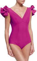 La Petite Robe by Chiara Boni Belvisette V-Neck Two Rose One-Piece Swimsuit