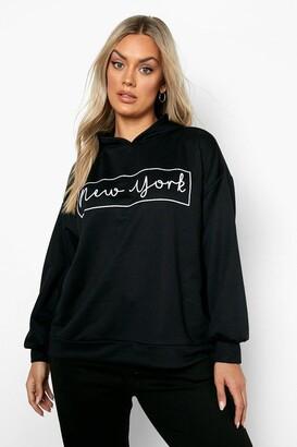 boohoo Plus New York Oversized Hooded Sweat