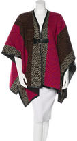 Fendi Colorblock Wool Poncho