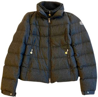 Moncler Classic Grey Wool Coat for Women