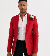 Hatch Asos Design ASOS DESIGN Tall super skinny blazer with cross in bright red