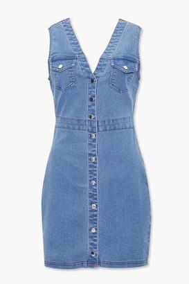 Forever 21 Denim Button-Front Mini Dress