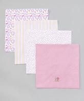 SpaSilk 30'' x 30'' Pink Floral Receiving Blanket Set