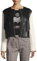 Isabel Marant Kirk Two-Tone Fringed Leather Jacket, White