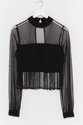Nasty Gal Womens Here Come the Pearls Cropped Beaded Top - Black - 4