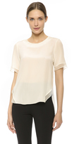 Prabal Gurung Short Sleeve Silk Blouse