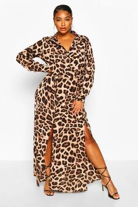 boohoo Plus Leopard Oversized Shirt Maxi Dress