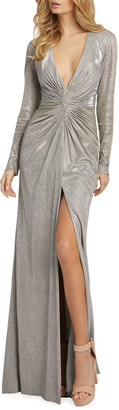 Mac Duggal Metallic Plunging Long-Sleeve Ruched Gown