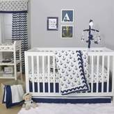 The Peanut Shell Anchor 4-Piece Crib Bedding Set in White/Navy
