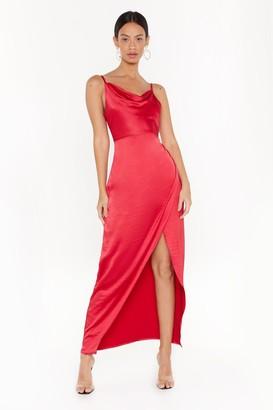 Nasty Gal Womens Cowl Play Satin Maxi Dress - red - 14