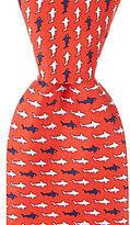 Roundtree & Yorke Trademark Shark School Repeating Print Traditional Silk Tie