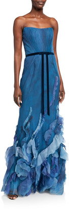 Marchesa Strapless Printed Tulle Textured Gown