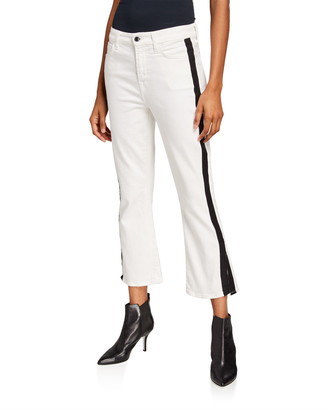 7 For All Mankind Jen7 by Cropped Boot-Cut Tuxedo Stripe Slit Jeans