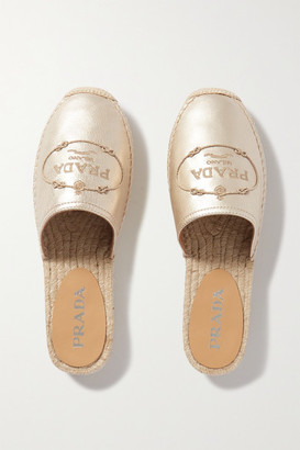 Prada Embroidered Metallic Leather Espadrille Slides - Gold
