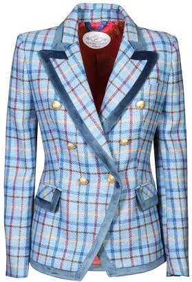 Light Blue Checkered Blazer Fiorella