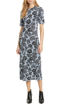 Rebecca Taylor Metallic Floral Jacquard Dress