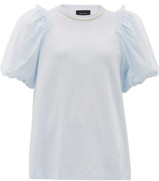 Simone Rocha Faux-pearl Puff-sleeved Cotton T-shirt - Womens - Blue
