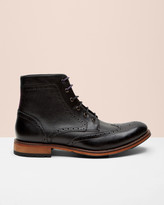 Ted Baker Leather Wingtip Brogue Ankle Boots Black