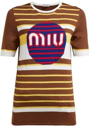 Miu Miu Logo Short-sleeved Wool Sweater - Womens - Brown Multi