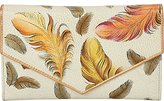 Anuschka Women's Handpainted Leather Check Book Wallet,Floating Feathers Ivory Checkbook Cover