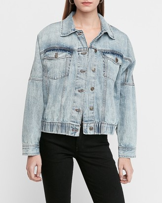 Express Light Vintage Wash Elastic Hem Denim Trucker Jacket