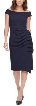 Brinker & Eliza Pleat-Detail Sheath Dress